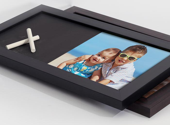 two chalk board ptints black and espresso frame