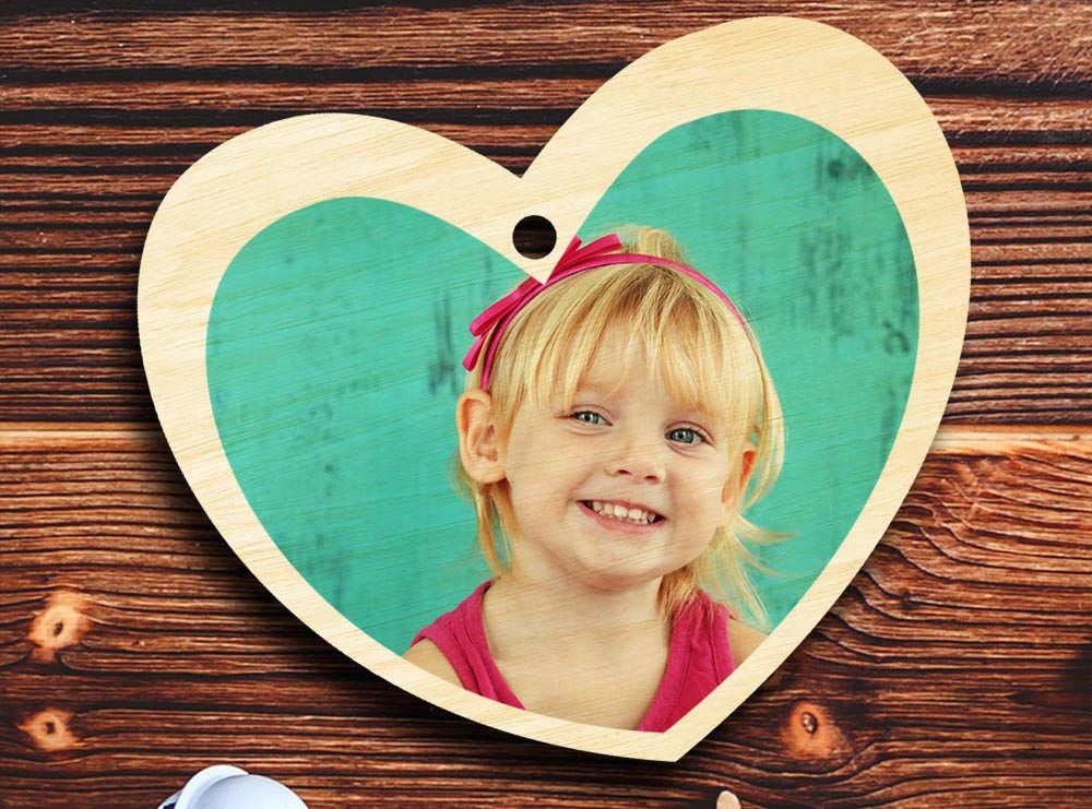 ornament on wood heart shape
