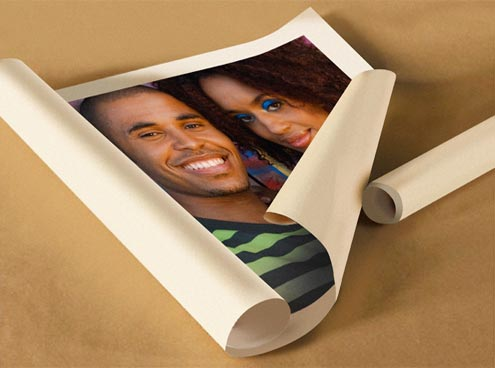 rolled canvas print photo of young couple