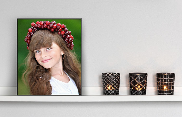photo print of girl on picture plaque